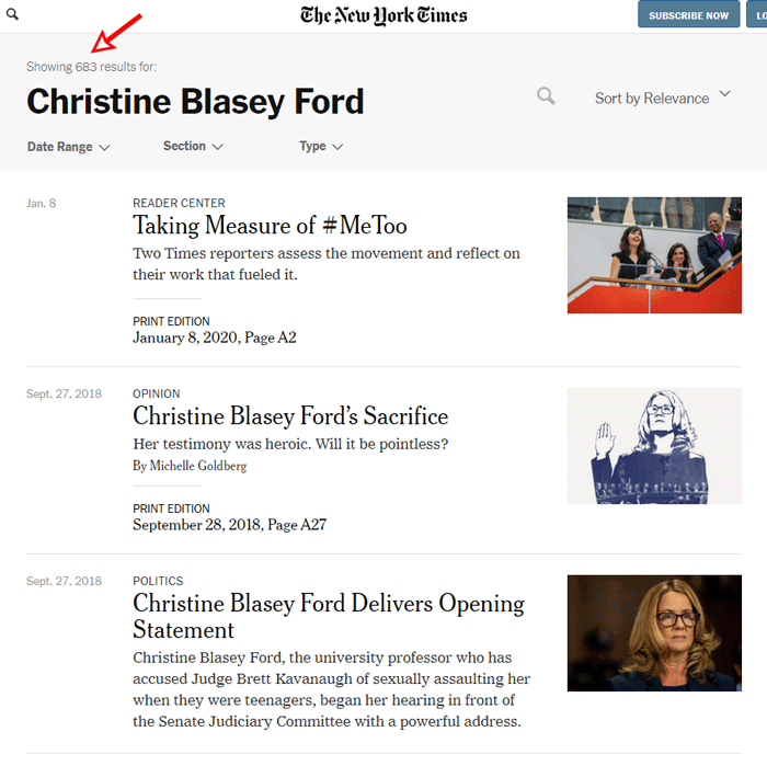NYT coverage of Christine Blasey Ford