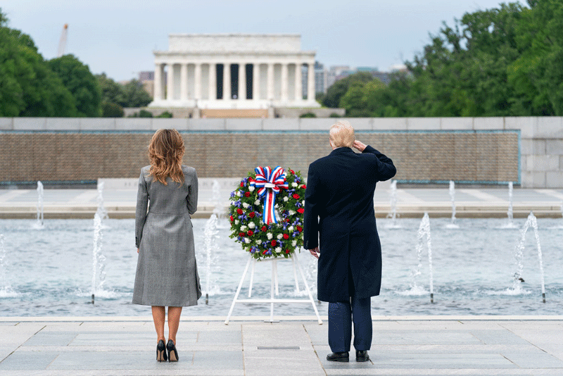 Trump and Melania paying tribute on #VEDay75