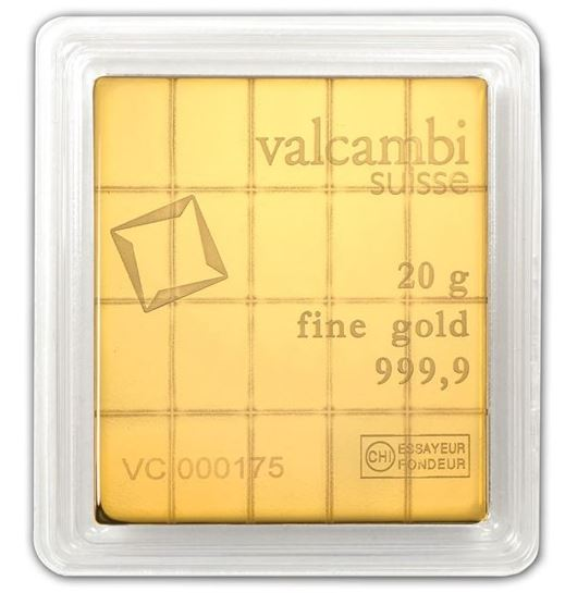 Valcambi Suisse Gold Bar 20g in Assay