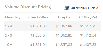 APMEX Pricing Table